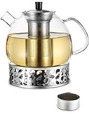 Cosumy 1500 ml szklany dzbanek do herbaty z podgrzewaczem, zestaw w pudełku prezentowym – wkład sitowy ze stali nierdzewnej – nadaje się do mycia w zmywarce
