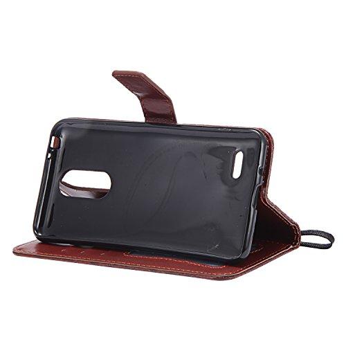LG K8 2017( European Version ) Hülle, BONROY Schutzhülle für LG K8 2017 Leder Wallet Tasche Brieftasche PU Schutz Etui Schale, [Premium Leder Serie] 3D-geprägtes Rattan-Blumenmuster Ledertasche Slim R Rattan-Blumen Braun