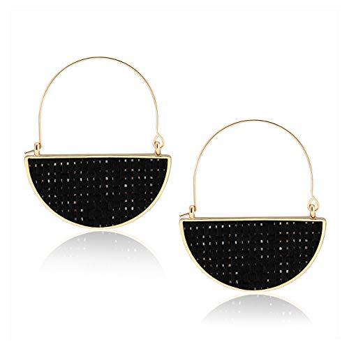 BSJELL Fan Hoop Earrings Handmade Semicircle Rattan Drop Earrings Geometric Dangle Earrings Lightweight Bohemian Jewelry for Women ()