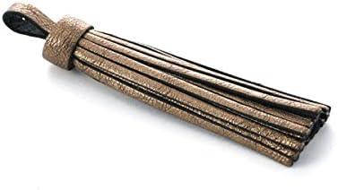 Pompon en cuir m/étallis/é 75 mm bronze