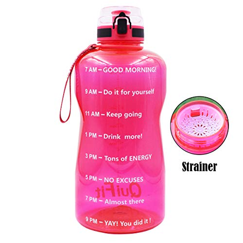 QuiFit Half Gallon Water Bottle with Infuser and Time Marker, Locking Flip-Flop Lid,Large Capacity 64/43/15 oz BPA Free Outdoors Tritan Sport Fitness Water Jug (Hot Pink, 64 oz)