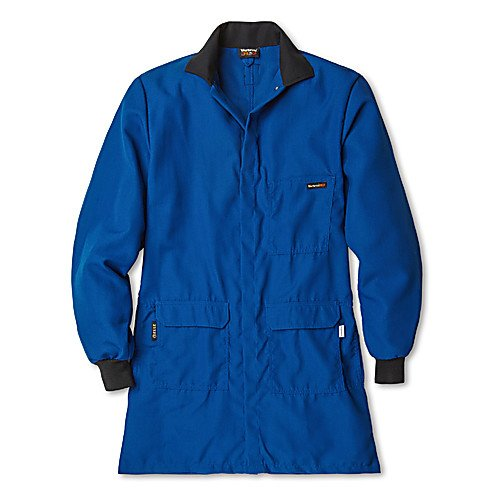 Workrite Uniform 353CH45RBSM 0R Flame-Resistant/Chemical Protection Lab Coat, Small Size, 4.5 oz. Nomex IIIA Fabric, Royal Blue ()