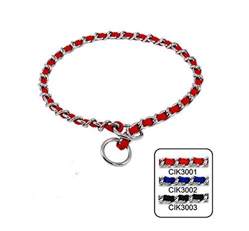 (Strimm Metal Dog Chain Collar Slip Martingale Training Choker with Nylon Webbing Woven- Red)