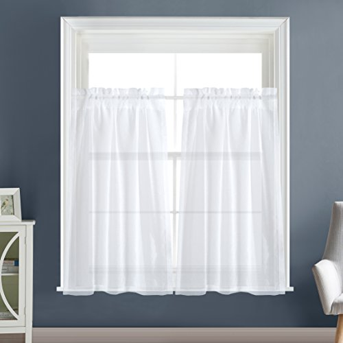 (Dreaming Casa Solid Sheer Kitchen Curtains Valance Tier Curtains Draperies White Rod Pocket, 2 Panels 2 30