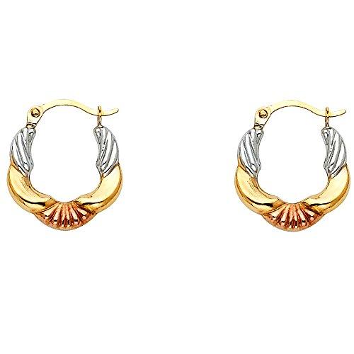 - 14k Tri Color Gold Shell Fancy Hoop Earrings (13 x 13mm)