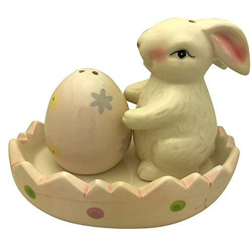 Easter Egg & Bunny Ceramic Salt and Pepper Shakers in Pink Egg Tray Easter Salt Pepper Shakers
