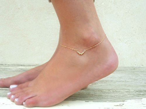 Handmade Designer Delicate Minimal Layered 14K Gold Filled Or Sterling Silver V Shape Beads Triangle Anklet (Hand Forged Circle Necklace)