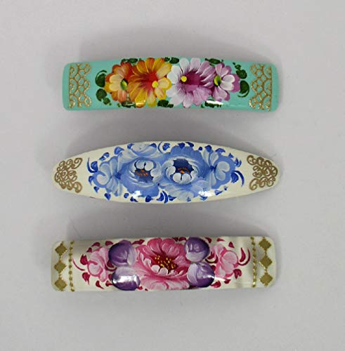 3 Russian Hand Painted Barrettes Hair Clips #0943 ()