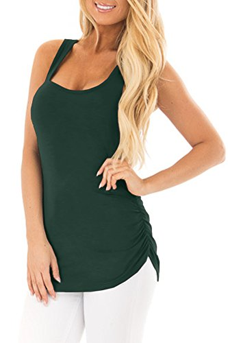 Womens Ruched Casual Sleeveeless Summer Shirts Racerback Solid Color Cotton Tank Top Forest Green (Forest Green Womens Water)