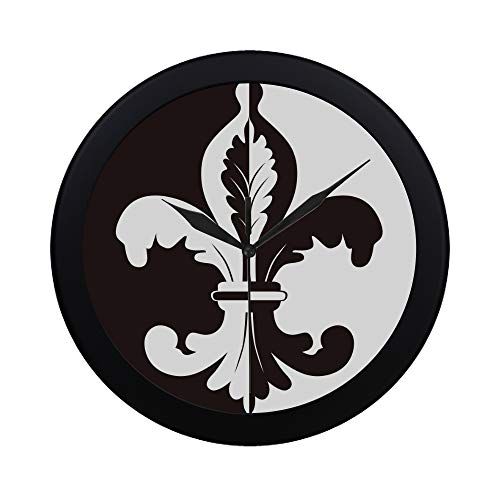 Modern Simple Black And White Illustration Of Fleur De Lis Pattern Wall Clock Indoor Non-ticking Silent Quartz Quiet Sweep Movement Wall Clcok For Office,bathroom,livingroom Decorative 9.65 Inch