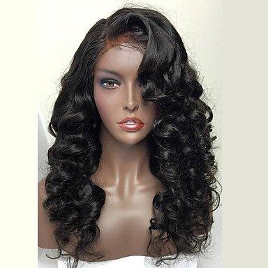 Encaje de cabello humanos de la mujer peluca cabello humanos llena encaje densidad ondulado peluca Negro