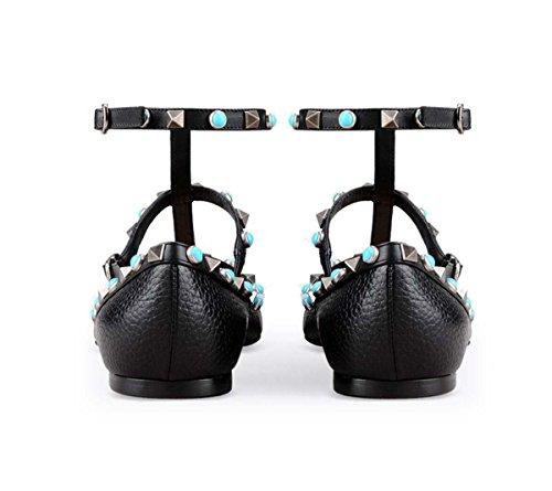 GONGFF Rivets De Dames Européennes Et Américaines Simples Chaussures De Commerce Extérieur Couleur Ongles Fermoir Pointu Chaussures Plates #4 e6uxC