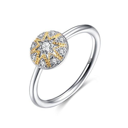 Jsely Sunflower Floral Ring Women 925 Sterling Silver Exquisite Round Mosaic Diamond Gold Jewelry (7)