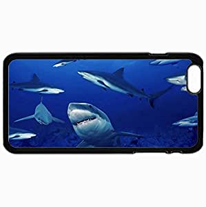 Personalized Protective Hardshell Back Hardcover For iPhone 6 Plus, Fish Predators Shark Design In Black Case Color