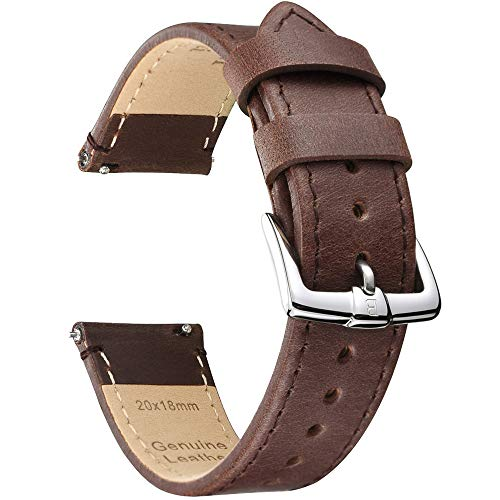 B&E Quick Release Watch Bands Strap Top Grain Genuine Leather - Nubuck Style Wristbands for Traditional & Smart Watch - 18mm 20mm 22mm Width Available -DKBNBN22