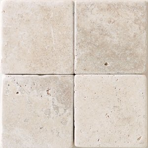 """Crema Marfil 4x4"""" Square Marble Tile Tumbled and Honed"""