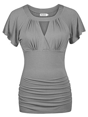 Ninedaily Women Dressy Tops Cross-front V Neck Raglan Sleeve Ruched Blouse Grey X-Large