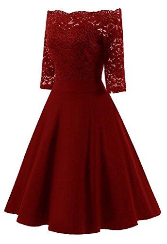 Puro Da Vino Vestito Rosso Scavare Coolred Pizzo Fuori donne Partito Colore Premio Spalla wIZ8pqP
