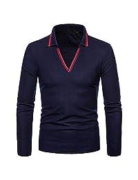 Men Tops Fashion Autumn and Winter Men Solid Color V-Neck Long-Sleeved T-Shirt