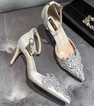 Aguja Zapatos De Tacón Tacón Novia Novia Silver Cristal Zapatos Zapatos De De Rojos Alto De Talones VIVIOO De De Diamantes Talones FPSTqwTA