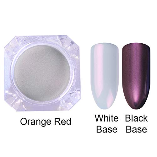 Mermaid Nail Glitter Powder Pearl Shell Shimmer Powder Pigment Gradient Glimmer Dust Nail Art Decorations Orange Red -