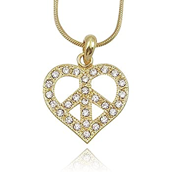 Amazon Gold Tone Crystal Peace Sign Symbol Heart Necklace For