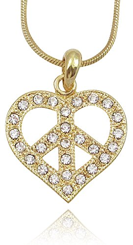Sign Necklace Peace Heart (Gold Tone Crystal Peace Sign symbol Heart Necklace for Women Teens Girls Prime Jewelry)
