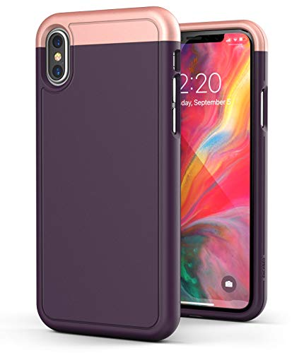 iPhone Xs MAX Case Purple (2018) - Encased Ultra Slim Protective (Rubberized Grip) Thin Fit Hard Cover (Rose Gold Accent)