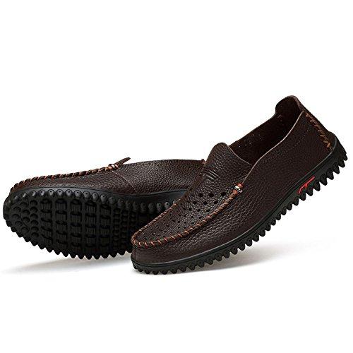 los Mocasín Fuera Brown hacia Verano Playa Dark de Hombres de Cuero Casuales Zapatos de Ahueca Zapatos la los conducción de EwTpnHqxtp