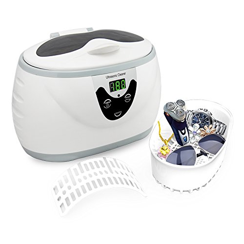 600ML Professional Ultrasonic Jewelry Cleaner, Digital Timer, Cleans for Jewelry Eyeglass Gem and Watch Gray ()