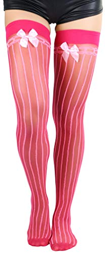 (ToBeInStyle Women's Pinstripe Thigh High With Bow - Pink -)