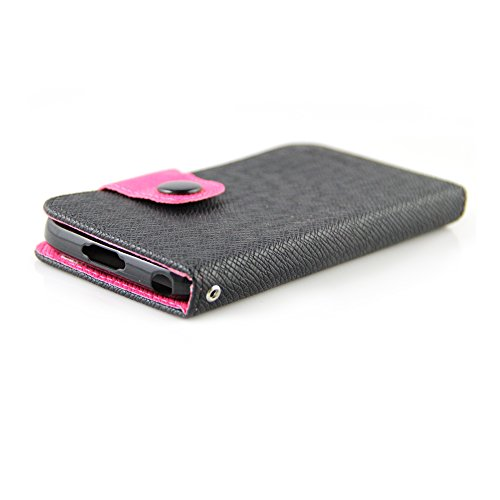 BlackBerry Classic Case, RANZ® Hot Pink/Black Stylish Design Deluxe PU Texture Faux Leather Folio Flip Book Wallet Pouch Case Cover For BlackBerry Classic with Touch Stylus