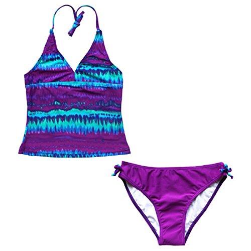 iiniim Big Girls Youth Two Piece Tie-Dye Tankini Swimsuit Bikini Bathing Suit Halter Top Boyshort/Swim Briefs