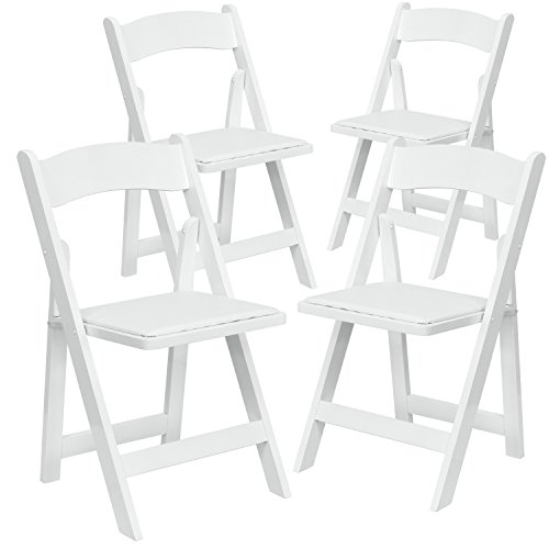 Flash Furniture 4 Pk. HERCULES Series White Wood Folding Chair with Vinyl Padded Seat by Flash Furniture