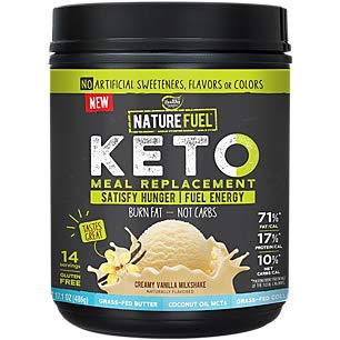 Nature Fuel Keto Shake, Creamy Vanilla Milkshake, Keto Meal Replacement with GrassFed Butter and Collagen and Coconut Oil MCTs (17.1 Ounces Powder)