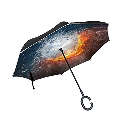 Reverse Umbrella Volleyball Fire And Water Windproof for Car