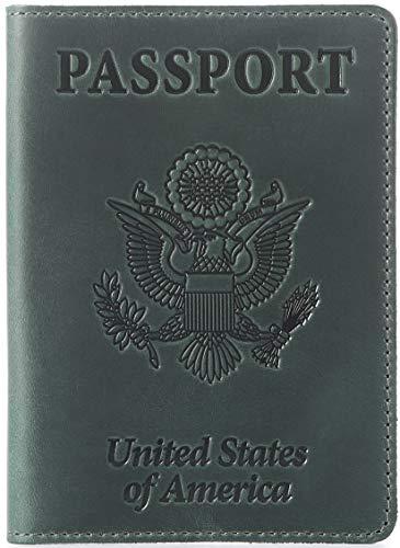 Shvigel Leather Passport Cover - Holder - for Men & Women - Passport Case (Green Vintage) ()