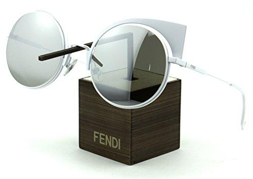 Fendi FF 0177/S Metal Oval Mirror Women Sunglasses (White Frame, Silver Mirror Lens - Fendy Sunglasses