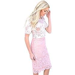 Eyelash Lace Fringe Modest Pencil Skirt In Pink