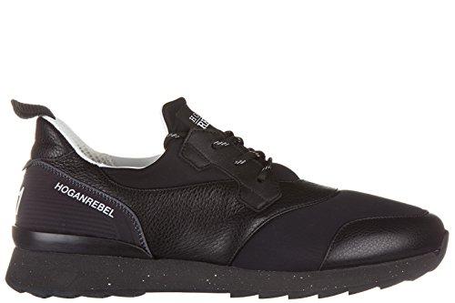 Hogan Rebel Uomo Scarpe Sneakers In Pelle R261 3d Nero