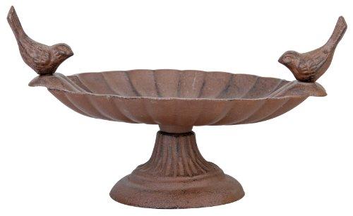 Esschert Design Vogeltränke, Vogelbad mit kurzem Fuß aus Gusseisen, ca. 24 cm x 15 cm x 13 cm