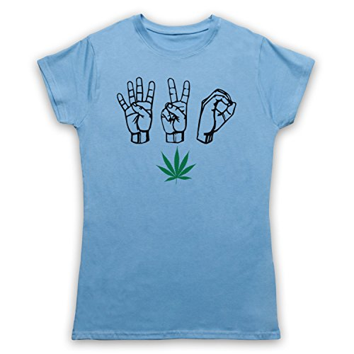 420 Cannabis Leaf Weed Pot Culture Fingers Camiseta para Mujer Azul Cielo