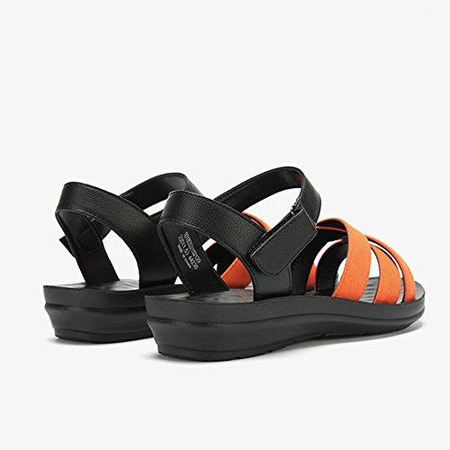 Unisex Simples Verano Señora Orange Ocasionales De Sandalias Sólidos Velcro X0xwg6