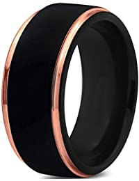 Tungsten Wedding Band Ring 10mm for Men Women Black & 18K Rose Gold Stepped Edge Brushed Lifetime Guarantee