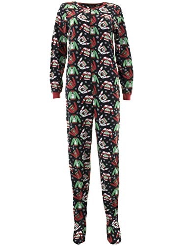 Rene Rofe Women's Ugly Sweater Black Footed Pajamas -