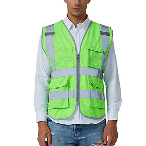 iYYVV Men Road Work High Visibility Pullover Sleeveless Jacket British Suit Vest Tops