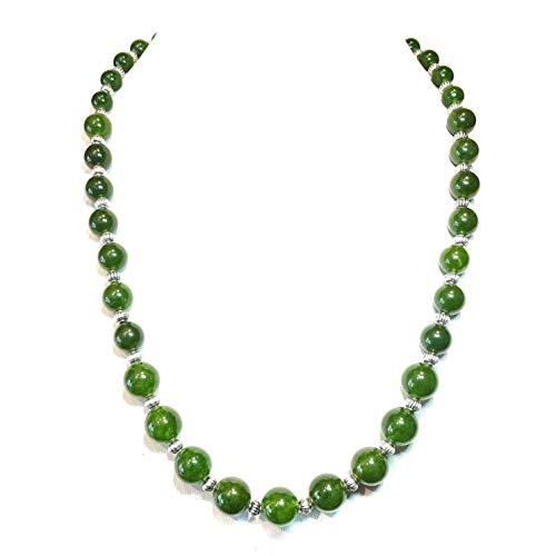 BlackCat Green Taiwan Jade Semi-Precious Gemstone Graduated Necklace - 22 inches