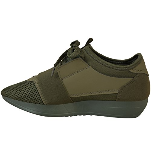 Womens Ladies Girls Lace Up Trainer Bali Runner Stretch Band Walking Gym Shoes Khaki Green Faux Suede / Faux Leather tedPSgtpY
