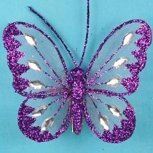 Artificial Mesh Glittered Butterflies - 8cm, Purple, Tray of 12 by JustArtificial ()