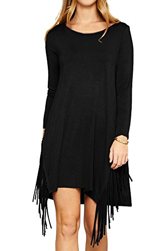 Eomenie Women's Side Fringe Tassel Tunic Dress Long Sleeves Casual (Side Tassels)
